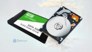 Твёрдотельный накопитель (SSD) и жёсткий диск (HDD) для ноутбука.